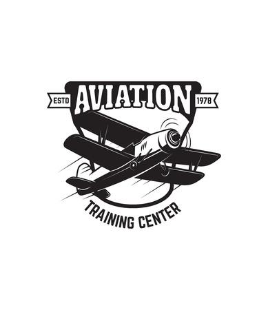 emblem template with retro airplane. Design element for logo, label, emblem, sign. Vector illustration