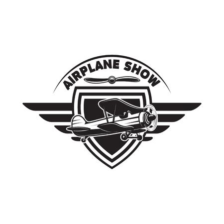 Emblem template with retro airplane. Design element for logo, label, emblem, sign Vector illustration