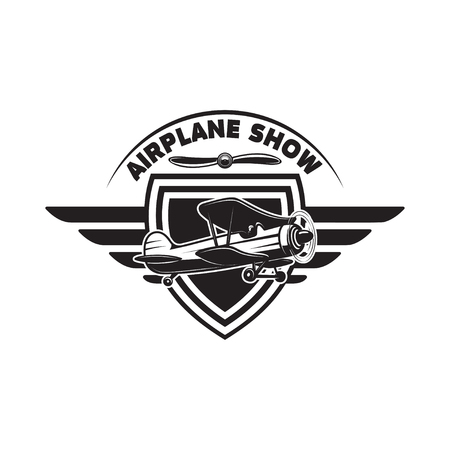 Emblem template with retro airplane. Design element for logo, label, emblem, sign Vector illustration