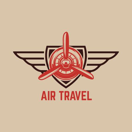 レトロな飛行機と航空訓練センターのエンブレムテンプレート。ロゴ、ラベル、エンブレム、記号のデザイン要素。ベクトルイラスト