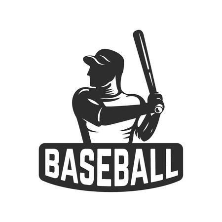 emblem template with baseball player. Design element for logo, label, emblem, sign. Vector illustration
