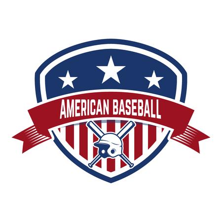 Emblem with crossed baseball bat and baseball helmet. Design element for logo, label, emblem, sign, badge. Vector illustration Illustration
