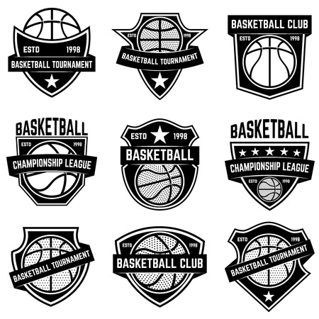 Set of basketball sport emblems. Design element for poster, logo, label, emblem, sign, t shirt. Vector illustration
