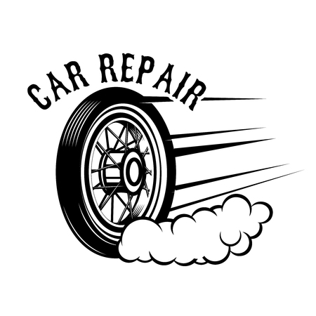 Car repair. Wheel with speed lines. Design element for logo, label, emblem, sign. Vector illustration Illustration