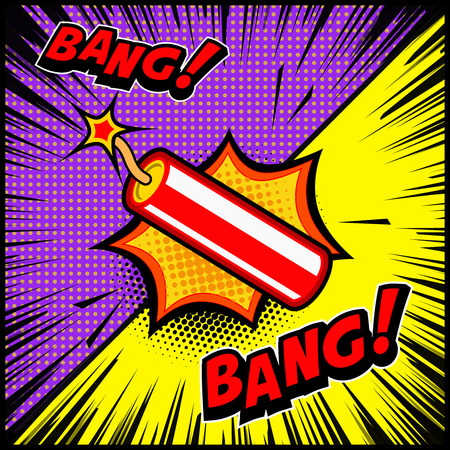Comic style dynamite explosion illustration. Design element for poster, banner, flyer. Vector illustration