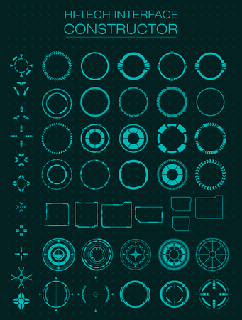Hi-tech interface constructor. Design elements for hud, user interface, animation, motion design. Vector illustration Çizim