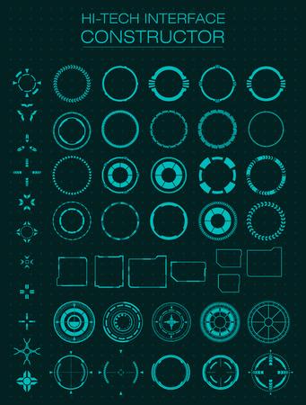 Hi-tech interface constructor. Design elements for hud, user interface, animation, motion design. Vector illustration Illustration