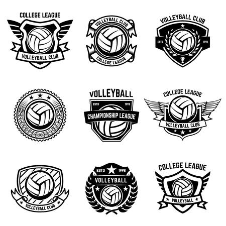 Volleyball emblems on white background. Design element for logo, label, emblem, sign, badge. Vector illustration Logo