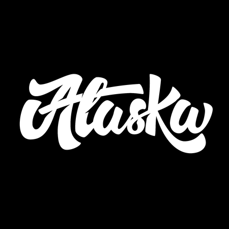 Alaska. Lettering phrase isolated on black background. Vector illustration