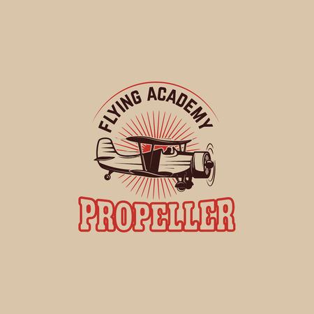 Airplane show. Retro airplane propeller on winged emblem. Design element for logo, label, emblem, sign. Vector illustration