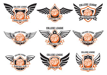 Set gevleugelde emblemen met basketbalbal. Ontwerpelement voor logo, etiket, embleem, teken. Vector illustratie