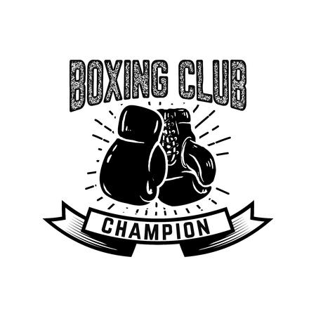 チャンピオンボクシング部ボクサー手袋付きエンブレムテンプレート。ロゴ、ラベル、エンブレム、記号のデザイン要素。ベクトルイラスト