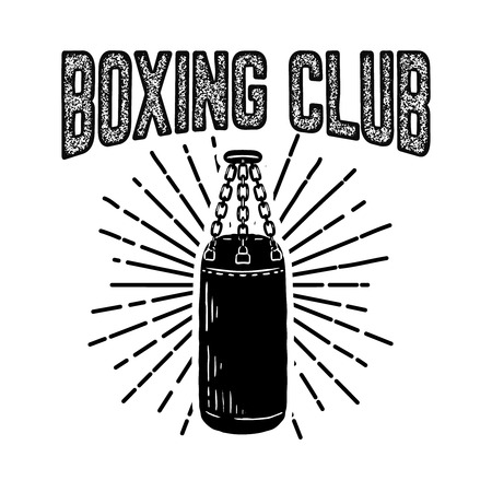 Champion boxing club. Emblem template with boxer punching bag. Design element for logo, label, emblem, sign. Vector illustration Ilustracja