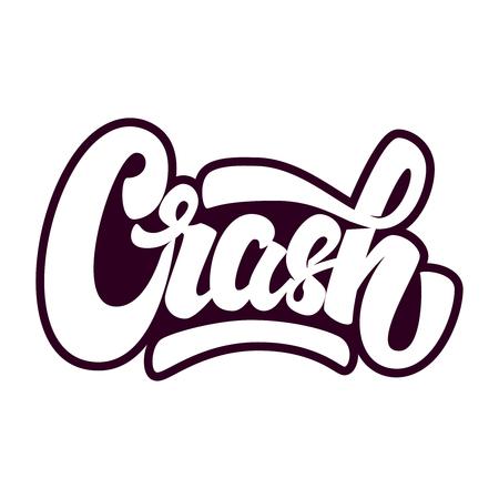 Crash. Belettering zin geïsoleerd op een witte achtergrond. Vector illustratie