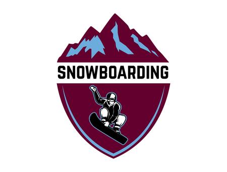 Snowboarding. Emblem with snowboarder. Design element for logo, label, emblem, sign. Vector illustration Stock Vector - 94316668