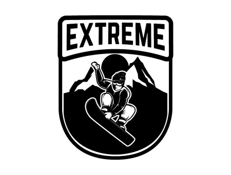 Snowboarding. Emblem with snowboarder. Design element for logo, label, emblem, sign. Vector illustration
