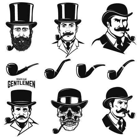 喫煙パイプ付きの紳士の頭のセット。ラベル、エンブレム、記号ベクトルイラストレーションのデザイン要素。