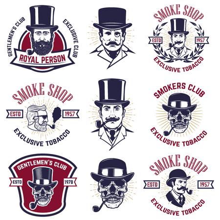 Set van rokers club emblemen, vintage heren portretten met pijpen. Ontwerpelement voor label, embleem, teken, poster, banner vectorillustratie.