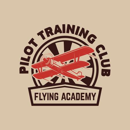 Aviation training center emblem template with retro airplane. Design element for label, emblem, sign vector illustration. Illustration
