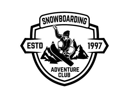 Snowboarding, emblem with snowboarder. Design element for label, emblem, sign vector illustration. Illustration