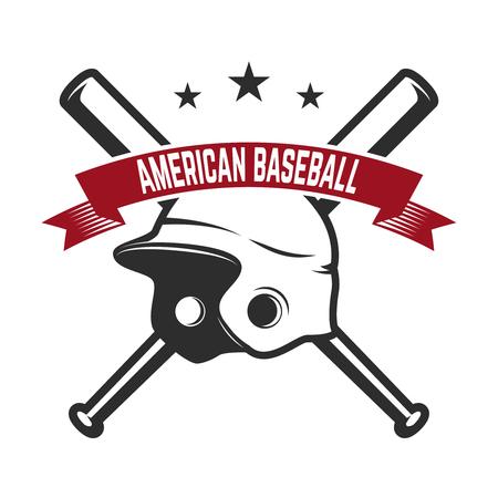 Emblem with crossed baseball bat and baseball glove. Design element for label, emblem, sign, badge vector illustration.
