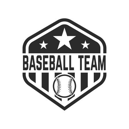 야구 공을 가진 상징. 레이블, 엠 블 럼, 기호, 배지 벡터 그림은 디자인 요소입니다. 일러스트
