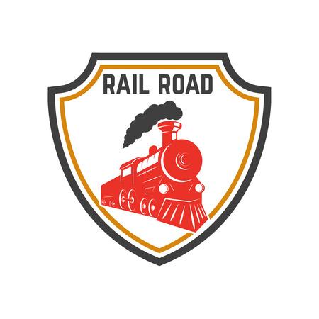 Emblem template with retro train, rail road, locomotive. Design element for label, emblem, sign vector illustration. Illustration