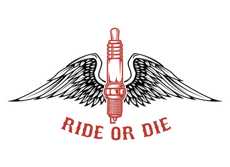 Born to ride, spark plug with wings isolated on white background. Design element for label, emblem, sign vector illustration.