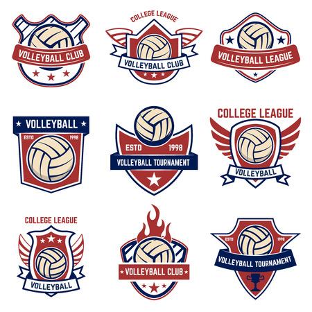 Volleybalemblemen op witte achtergrond. Ontwerpelement voor label, embleem, teken, badge vectorillustratie.