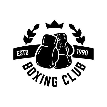 Champion boxing club emblem template with boxer gloves. Design element for label, emblem, sign vector illustration.