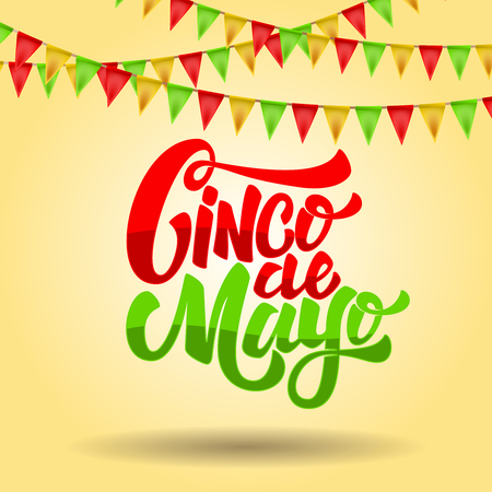 Cinco de mayo. Lettering phrase on background with carnival flags. Design element for poster, flyer, card. Vector illustration Illustration