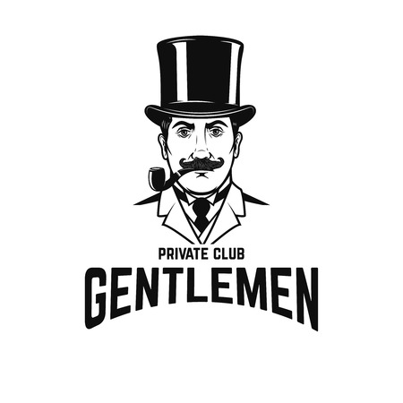 Private gentlemen club. Gentleman in retro hat and with smoking pipe. Vector illustration Stok Fotoğraf - 94768266