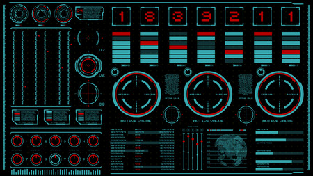 hi-tech interface on dark background. Design elements for hud, user interface, animation, motion design. Vector illustration