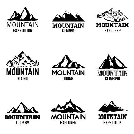 Satz Gebirgsikonen lokalisiert auf hellem Hintergrund. Gestaltungselemente für Logo, Etikett, Emblem, Zeichen. Vektor-illustration