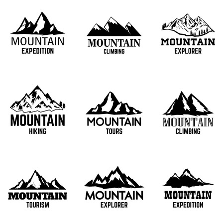 Set of mountain icons isolated on light background. Design elements for logo, label, emblem, sign. Vector illustration