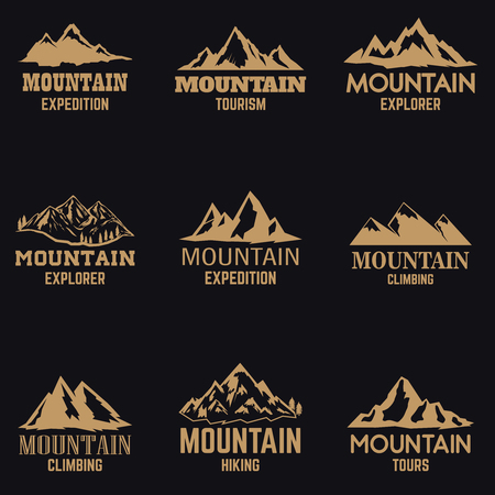 Set of mountain icons in golden style isolated on dark background. Design elements for logo, label, emblem, sign. Vector illustration Ilustração