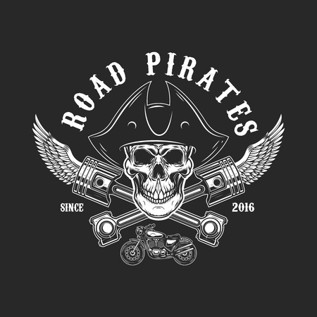 Road pirates. Human skull in pirate hat with crossed pistons and wings. Design element for logo, label, emblem, sign, t shirt print. Vector illustration Illustration