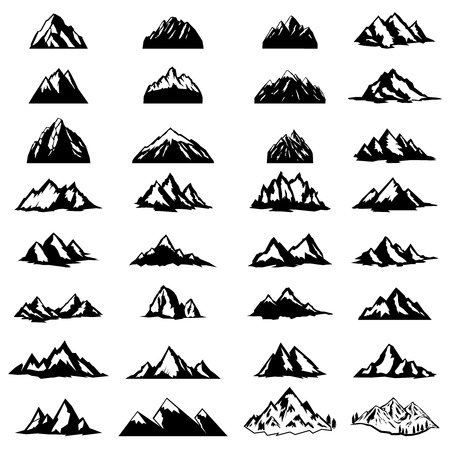 Big set of mountain icons isolated on white background. Design elements for logo, label, emblem, sign. Vector illustration Çizim
