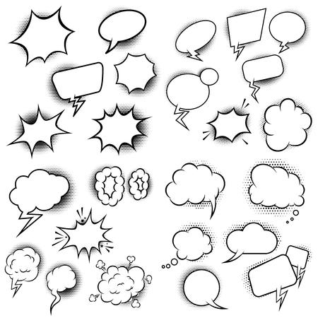 Set of empty comic style speech bubbles. Design element for poster, flyer, card, banner. Vector illustration Illusztráció