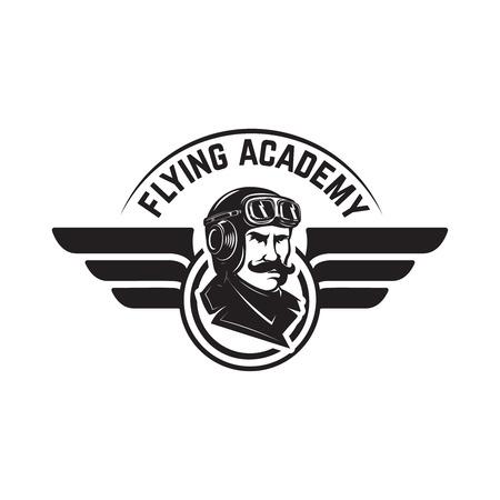 レトロな飛行機と航空訓練センターエンブレムテンプレート。ロゴ、ラベル、エンブレム、サインのデザイン要素。  イラスト・ベクター素材