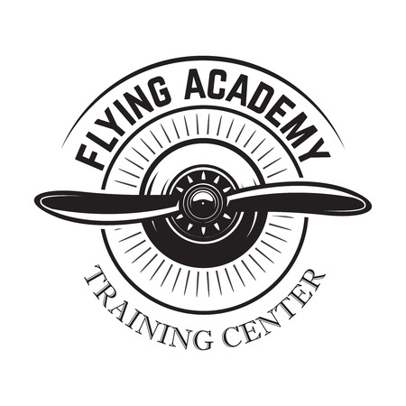 Aviation training center emblem template with retro airplane. Design element for logo, label, emblem, sign. Vector illustration
