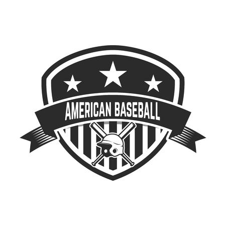 Emblem with crossed baseball bat and baseball helmet. Design element for logo, label, emblem, sign, badge.