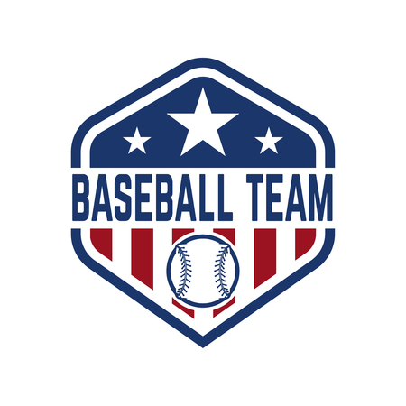 Emblem with baseball ball. Design element for logo, label, emblem, sign, badge. Vector illustration
