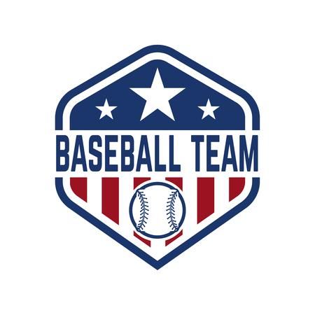 Emblem with baseball ball. Design element for logo, label, emblem, sign, badge. Vector illustration Stockfoto - 95236647