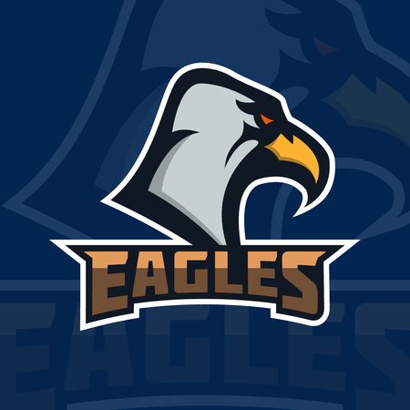 Eagles. emblem template with eagle head. sport team mascot. Vector illustration