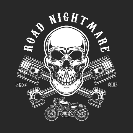 Road nightmare, Human skull with crossed pistons design element for label, emblem, sign, t-shirt print. Illustration