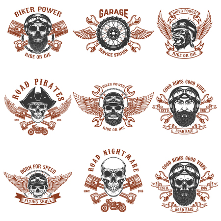 Set of biker emblems, Racer skull with crossed pistons, Extreme motorsport design elements for label, emblem, sign. Illustration