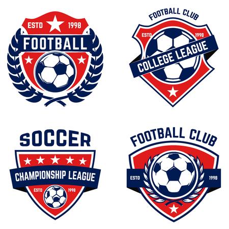 Set di calcio, emblemi di calcio. Elemento di design per logo, etichetta, emblema, segno. Illustrazione vettoriale