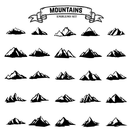 Big set of mountains icons isolated on white background. Design elements for logo, label, emblem, sign. Vector illustration