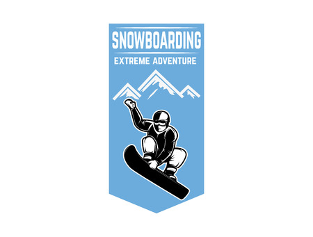 Snowboarding. Emblem with snowboarder. Design element for logo, label, emblem, sign. Vector illustration